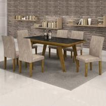 Conjunto Mesa Esmeralda 170x90 cm c/ 6 Cadeiras Classic vidro Preto - Cel Móveis - Cel Movéis