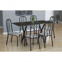 Conjunto Mesa Miami com 6 Cadeiras Madri Tubular Preto Prata - Fabone - Assento Branco com Floral - Fabone