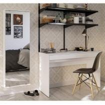Conjunto Mesa para Escritório 2 gavetas e 1 Sapateira com Espelho Branco - Politorno