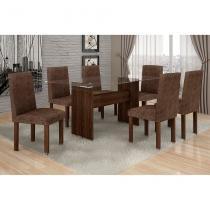 Conjunto Mesa Ravena Plus com 6 Cadeiras de Jantar Village Malbec Suede Amassado Marrom - Quality