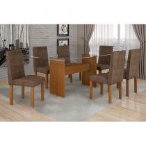 Conjunto Mesa Ravena Plus com 6 Cadeiras de Jantar Village Nogueira Suede Animale Marrom - Quality