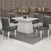 Conjunto Mesa Sevilha 120x90 cm c/ 4 Cadeiras Sevilha vidro Branco - Cel Móveis - Cel Movéis