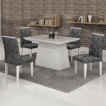 Conjunto Mesa Sevilha 120x90 cm c/ 4 Cadeiras Sevilha vidro Off White - Cel Móveis - Cel Movéis