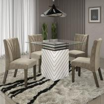 Conjunto Mesa Unity com 4 cadeiras Fortuna Alto Brilho Prêmio LJ Móveis Branco Malbec Vel Pena Bege -