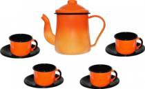 Conjunto para café Bule 1L Xícaras 120ml esmaltado laranja Ewel -