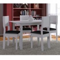 Conjunto para Sala de Jantar Mesa 4 Cadeiras Milena Indekes Branco/Preto -