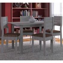 Conjunto para Sala de Jantar Mesa 4 Cadeiras Milena Indekes Trigo - Indekes
