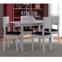 Conjunto para Sala de Jantar Mesa e 4 Cadeiras Indekes Milena Branco/Preto - Indekes