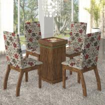 Conjunto para Sala de Jantar Mesa e 4 Cadeiras Lola Viero Avelã/Passion - Viero