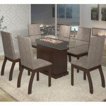 Conjunto para Sala de Jantar Mesa e 6 Cadeiras Cica Viero Choco/Canela -