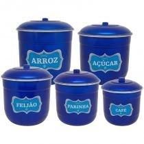 Conjunto Porta Mantimentos com 5 Peças (Kit Mantimentos) - Azul Verniz - Koup