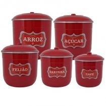 Conjunto Porta Mantimentos com 5 Peças (Kit Mantimentos) - Vermelho - Koup