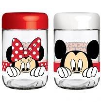 Conjunto Pote de Vidro Redondo 2 Peças com Tampa - 598ml Nadir Disney Amigos