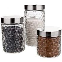 Conjunto Pote de Vidro Redondo 3 Peças com Tampa - Euro Home VDR3719