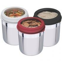 Conjunto Pote Redondo 3 Peças com Tampa Tramontina Cucina 64220/623