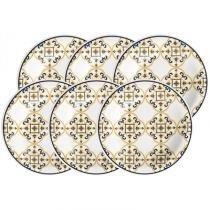 Conjunto Prato Fundo 6 peças 23cm Oxford Floreal - Oxford