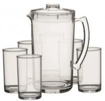 19f69c680 Conjunto Refresco 07 Pç 1 jarra de 2 litros e 6 copos água 350 ml Acrílico