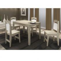 Conjunto Sala de Jantar Completo com Mesa e 4 Cadeiras - MDF 15 mm - Cappuccino - PC