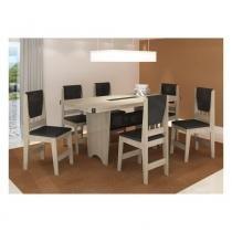 Conjunto Sala de Jantar Completo com Mesa e 6 Cadeiras - 100 MDP - Cappuccino/ Preto - CasaTema