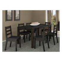 Conjunto Sala de Jantar Completo com Mesa e 6 Cadeiras - Madeira Maciça e MDF - Preto - PC