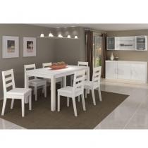 Conjunto Sala de Jantar Completo com Mesa e 6 Cadeiras - Madeira Maciça/ MDF  Branco - PC
