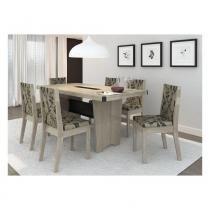 Conjunto Sala de Jantar Completo com Mesa e 6 Cadeiras - MDP/MDF - Cappuccino/ Preto - PC