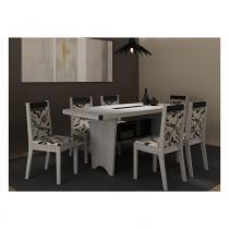 Conjunto Sala de Jantar Completo com Mesa e 6 Cadeiras - MDP/MDF - Cinza/Preto - PC