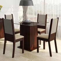 Conjunto Sala de Jantar Isis Madesa Mesa Tampo de Vidro com 4 Cadeiras - Tabaco/ Crema/ Pérola -