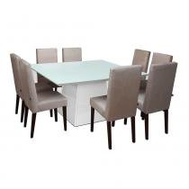 Conjunto Sala de Jantar Mesa 08 Cadeiras Elisa Preto - Ammo Mobili -