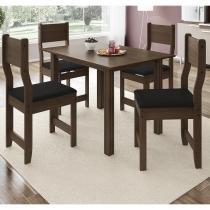 Conjunto Sala de Jantar Mesa 4 Cadeiras Dallas Indekes Nogal/Preto -