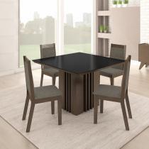Conjunto Sala de Jantar Mesa 4 Cadeiras Malaga Somopar Savana - Siena Móveis