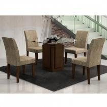 Conjunto Sala de Jantar Mesa 90 cm Amsterdã e 4 Cadeiras Grécia Castor/ Suede Amassado Chocolate - Rufato