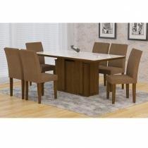 Conjunto Sala de Jantar Mesa Amsterda 180cm 6 Cadeiras Grecia Rufato Ypê/Serigrafado Branco/Animalle Chocolate - Rufato