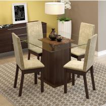 Conjunto  Sala de Jantar Mesa com Tampo de Vidro e 4 Cadeiras Nina Madesa Tabaco -