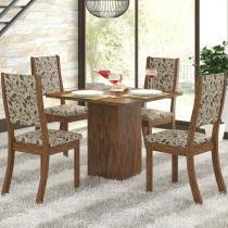 Conjunto Sala de Jantar Mesa e 4 Cadeiras Caju Viero Avelã/Medina - Viero