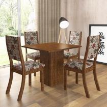 Conjunto Sala de Jantar Mesa e 4 Cadeiras Caju Viero Avelã/Passion - Viero