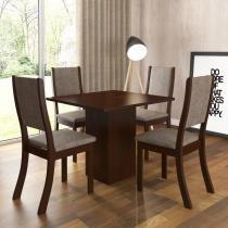 Conjunto Sala de Jantar Mesa e 4 Cadeiras Caju Viero Choco/Canela - Viero