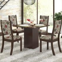 Conjunto Sala de Jantar Mesa e 4 Cadeiras Caju Viero Choco/Passion - Viero