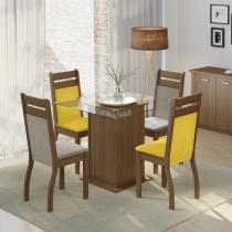 Conjunto Sala de Jantar Mesa e 4 Cadeiras Dijon Madesa Rustic/ Suede Perola/ Amarelo - Madesa