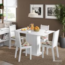 Conjunto Sala de Jantar Mesa e 4 Cadeiras Lexy Madesa Branco/Hibiscos -