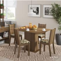 Conjunto Sala de Jantar Mesa e 4 Cadeiras Lexy Madesa Rustic/Bege/Marrom - Madesa