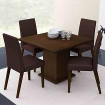 Conjunto Sala de Jantar Mesa e 4 Cadeiras Olga Madesa Imbuia/Marrom - Madesa