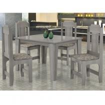Conjunto Sala de Jantar Mesa e 4 cadeiras Ônix JA Móveis Carvalho -