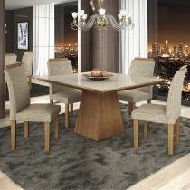 Conjunto Sala de Jantar Mesa e 4 Cadeiras Pietra LJ Móveis Castanho - LJ Móveis