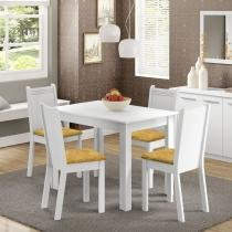 Conjunto Sala de Jantar Mesa e 4 Cadeiras Rute Madesa Branco/Palha - Madesa