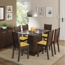 Conjunto Sala de Jantar Mesa e 6 Cadeiras Madesa Gales Tabaco/ Palha - Madesa