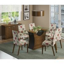 Conjunto Sala de Jantar Mesa e 6 cadeiras Mônaco Rustic/Preto/Hibiscos - Madesa