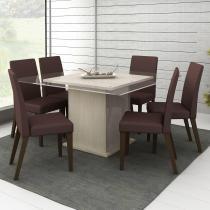 Conjunto Sala de Jantar Mesa e 6 Cadeiras Topázio Madesa Tirol/Amêndoa - Madesa