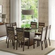 Conjunto Sala de Jantar Mesa e 8 Cadeiras Louise Madesa Tabaco/Bege/Pérola - Madesa
