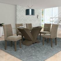 Conjunto Sala de Jantar Mesa Essence e 6 Cadeiras Audace Lj Móveis Malbec/Pena Bege -